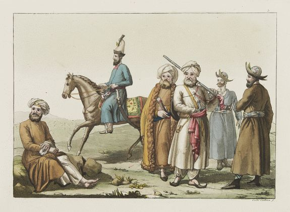 FERRARIO, G. -  [Afganistans in their typical dress]