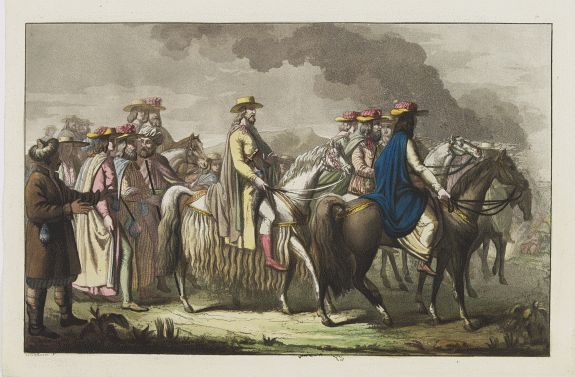 FERRARIO, G. -  [The procession of the regent of Tibet going to Teschou-Lumbou.]