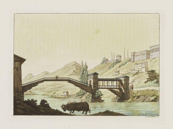 FERRARIO, G. -  [View of Castle and Bridge Vandipore - Bhutan - Tibet ]
