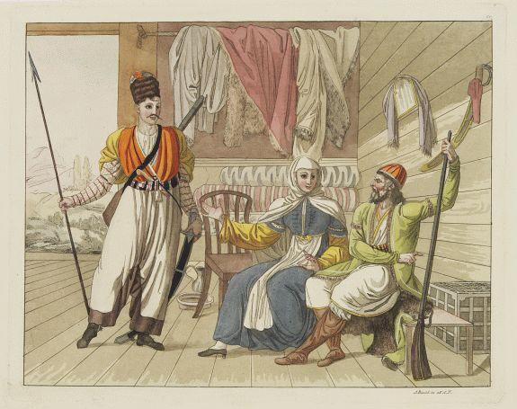 FERRARIO, G. -  [Costume plate of Grebenski Cossacks in the Caucasus]