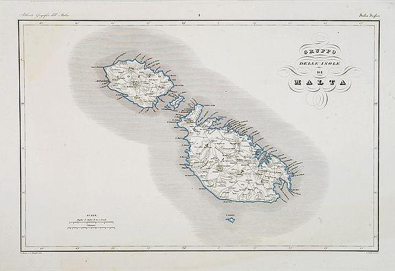MAINA, G. / STANGHI, V. / POZZI.,  Gruppo delle Isole di Malta., antique map, old maps