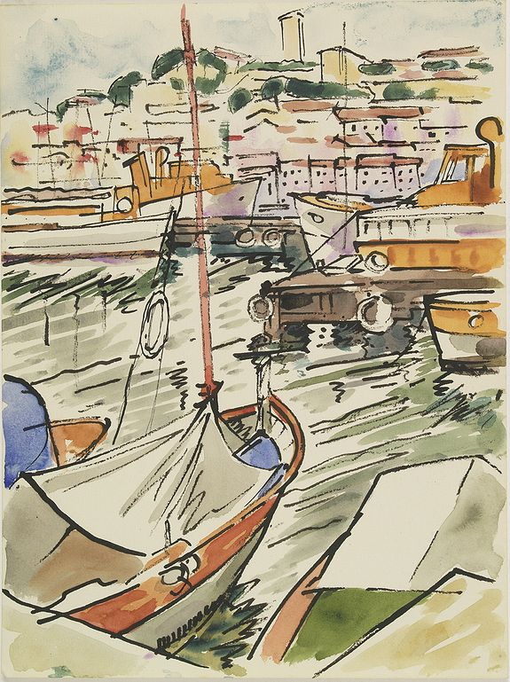 PAUTY, E. -  (Harbour view in the Provence).
