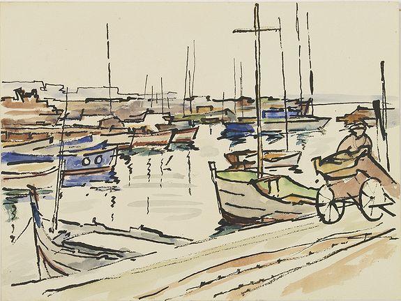 PAUTY, E. -  (Harbour scene).