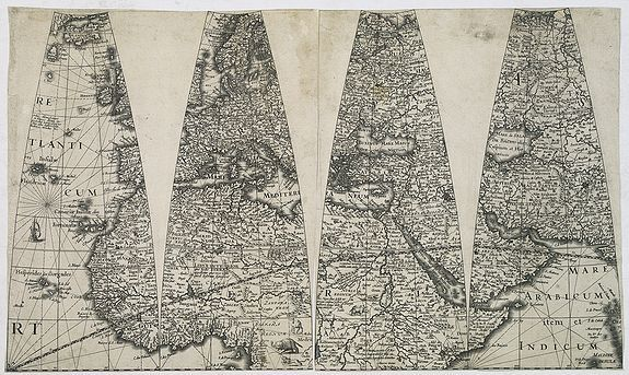 HONDIUS, J. II, JANSSONIUS, J.,  The only known, unmounted gores, from an extremely rare Dutch Globe., antique map, old maps