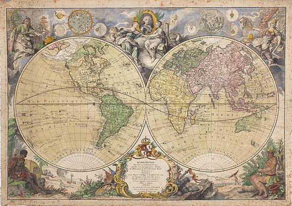 DESNOS, L.C. -  Mappemonde Dressée sur les Relations les Plus Nouvelles et les plus approuvées assujeties aux Observations de Mrs. De L'Académie Royale des Sciences.