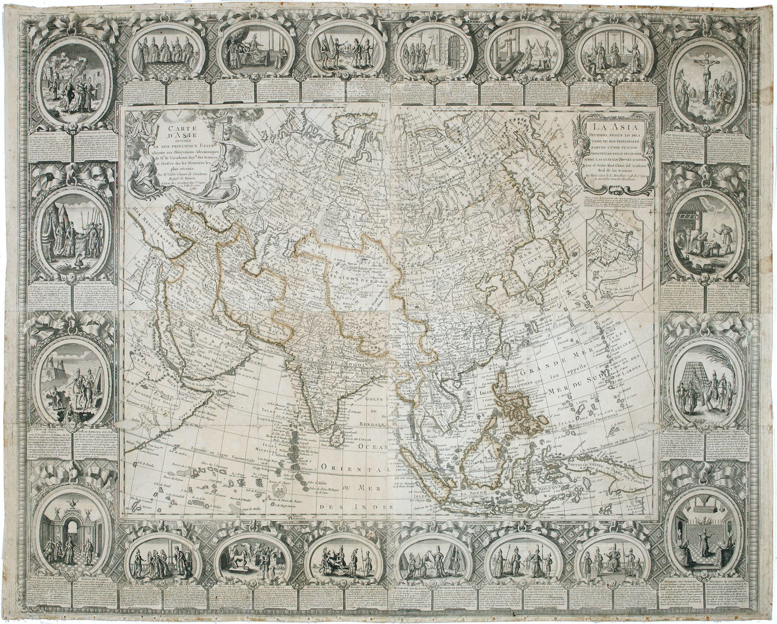 CLOUET / MONDHARE. -  Carte d'Asie divisée en ses principaux Etats.