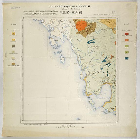 SERVICE GÉOLOGIQUE DE L'INDOCHINE. -  Carte géologique de l'Indochine à l'échelle du 1/500 000e. Pak-Nam Bang-Kok.