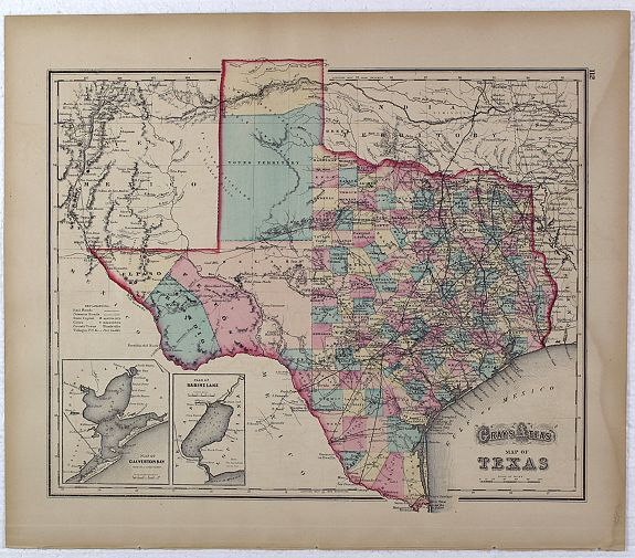 Gray Gray S Atlas Map Of Texas Arkansas Verso