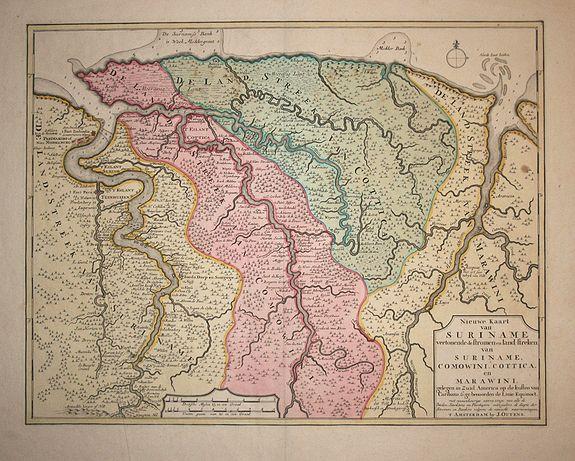 Ottens, J. - Nieuwe kaart van Suriname..