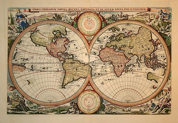 VISSCHER, N. - Orbis Terrarum Tabula Recens..