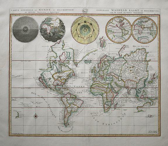 MORTIER,P. - Carte Generale du Monde, ou Description du Monde Terrestre & Aquatique