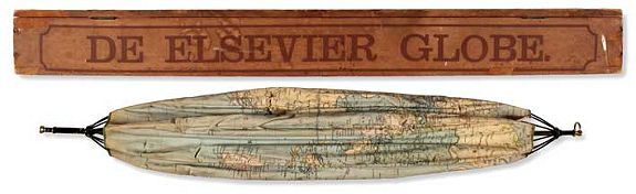 ELSEVIER, Collapsible, umbrella globe., antique map, old maps