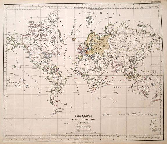 PERTHES, J. - Erdkarte in Mercator's Projection zur Uebersicht der christlichen Staaten und Ihrer Colonien.