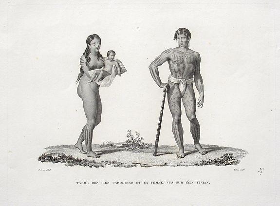 ARAGO, J. - Tamor des Îles Carolines et sa femme, vus sur l'Île Tinian.
