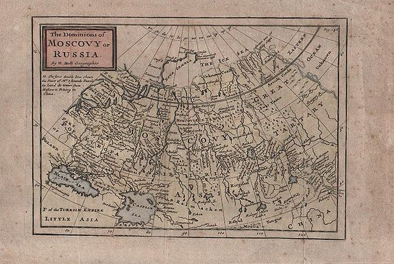 MOLL Herman. ,  The Dominions of Moscovy or Russia. . ., antique map, old maps