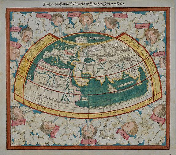 MUNSTER, Sebastian. - Ptolemeisch General Tafel/die halbe Kugel der Welt begreissende.