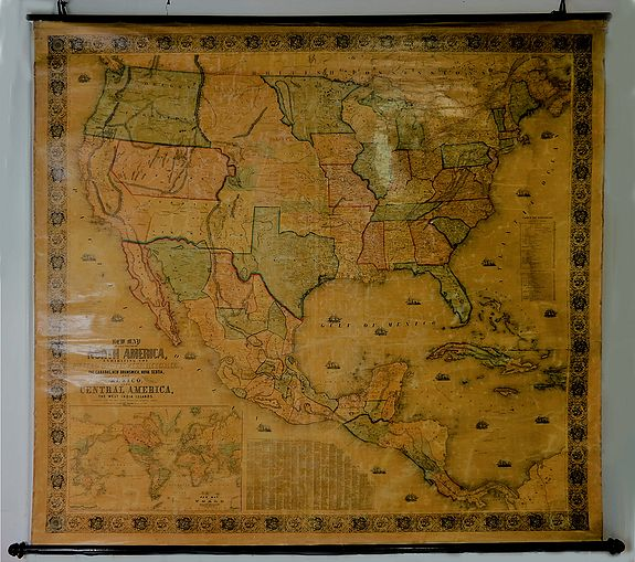 MONK, J. - New Map of the Portion of North America, Exhibiting the United States and Territories, The Canadas, New Brunswick, Nova Scotia, and Mexico also Central America, and the West India Islands.