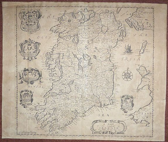 BLOME, Richard. , A Mapp of the Kingdome of Ireland., antique map, old maps