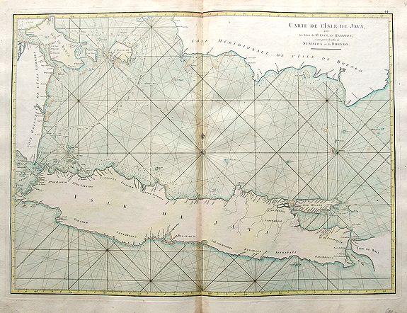 D'APRES DE MANNEVILLETTE. - Carte de l'isle de Java avec les isles de Banca, de Billiton, et une partie de celles de Sumatra et de Borneo.