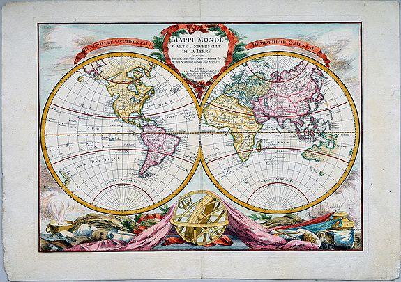 BOURGOIN, Pierre.  - Mappe Monde Carte Universelle de la Terre Dressee sur les Nouvelles Observations de Mrs de l'Academie Royale des Sciences.