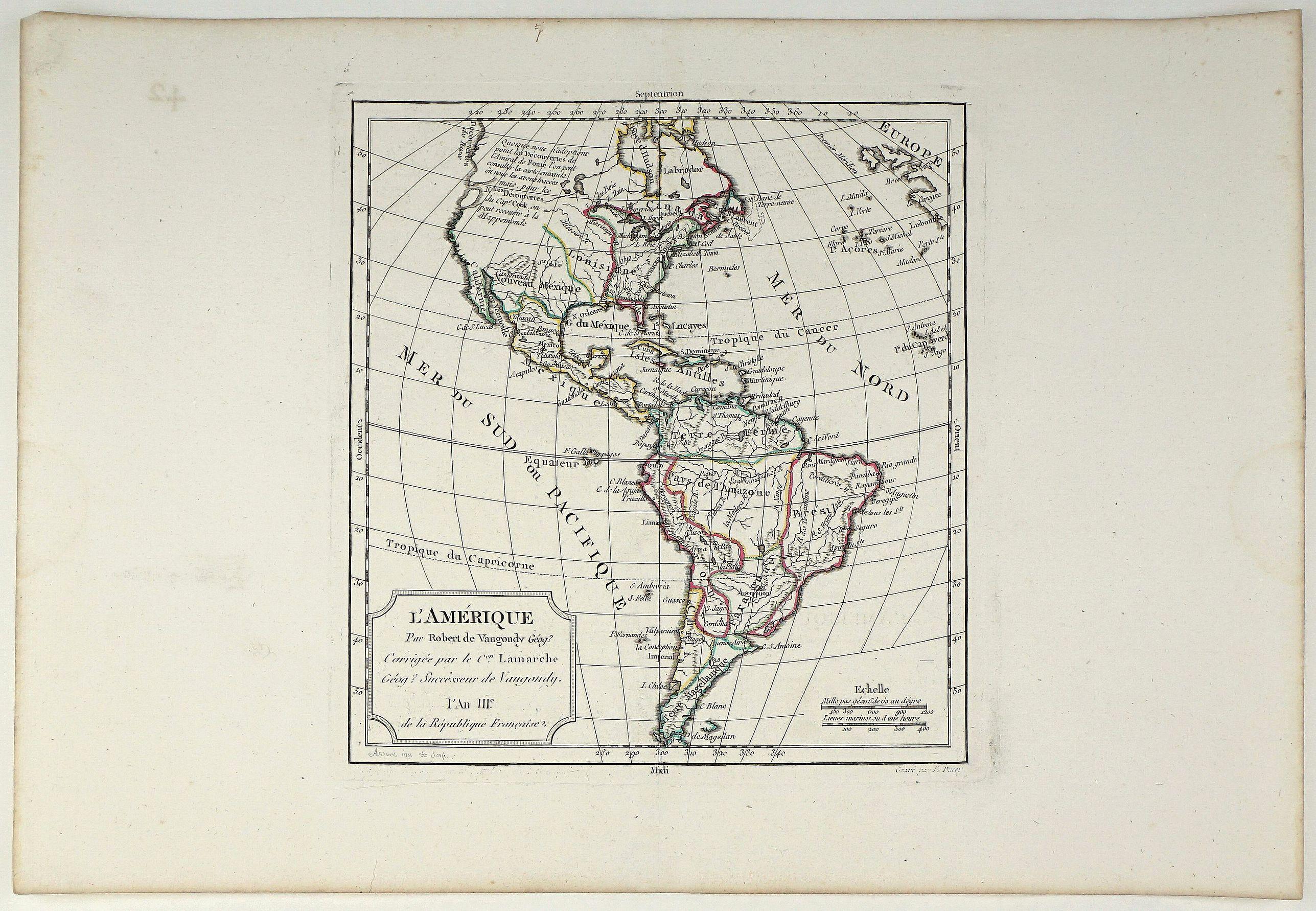 VAUGONDY, G.R. - L'Amerique Par Robert de Vaugondy Corrigee par le C Lamarche An III. 