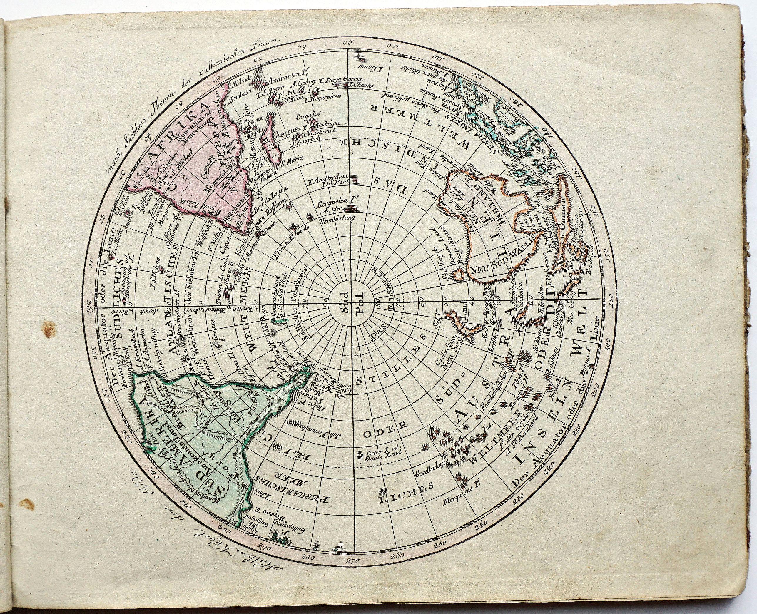 WALCH, J. - Halb = Kugel der Erde nach Sicklers Theorie der vulkanischen Linien.