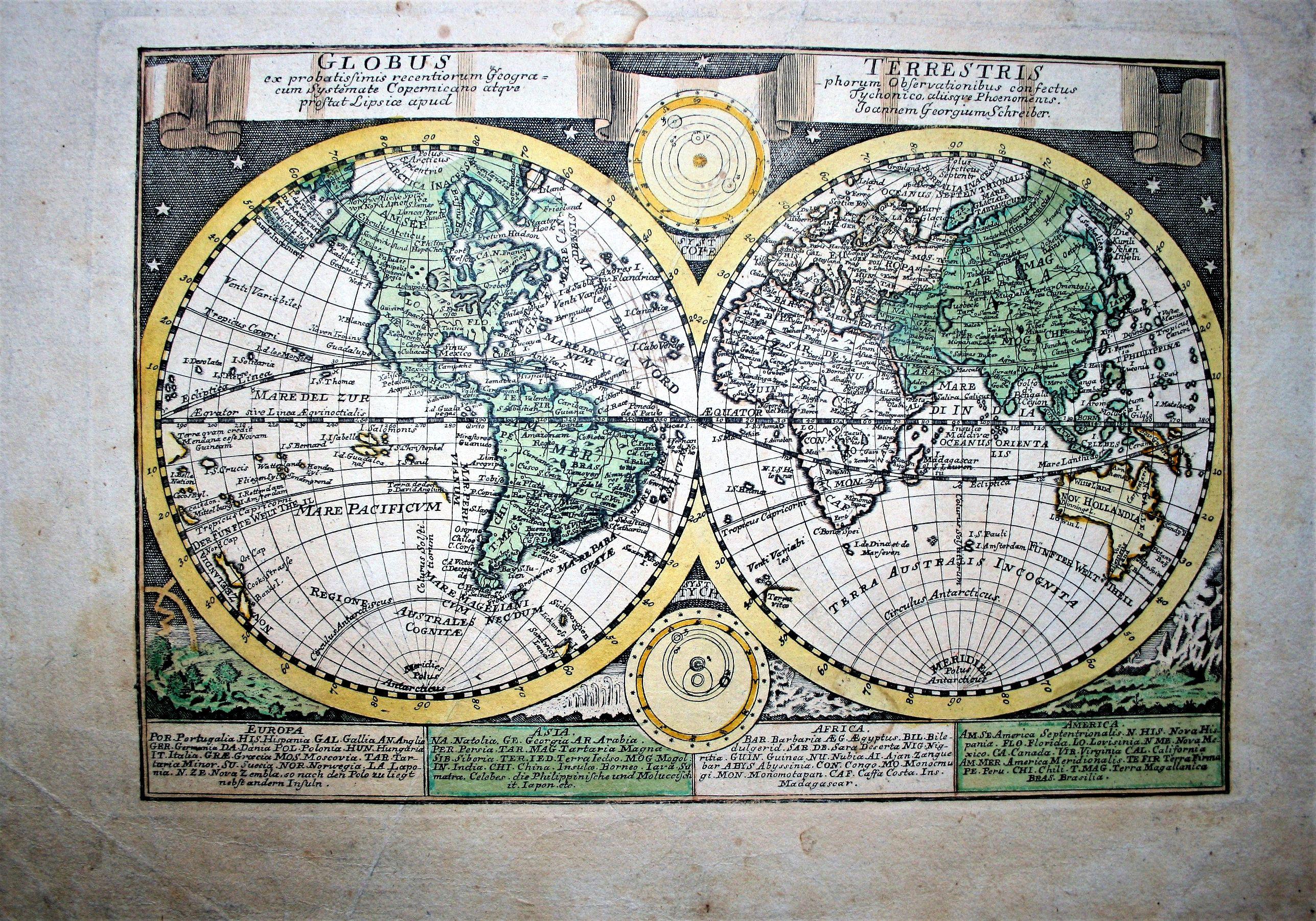 SCHREIBER, J. G. - Globus Terrestris ex Probatissimis Recentiorum Geographorum Observationibus…