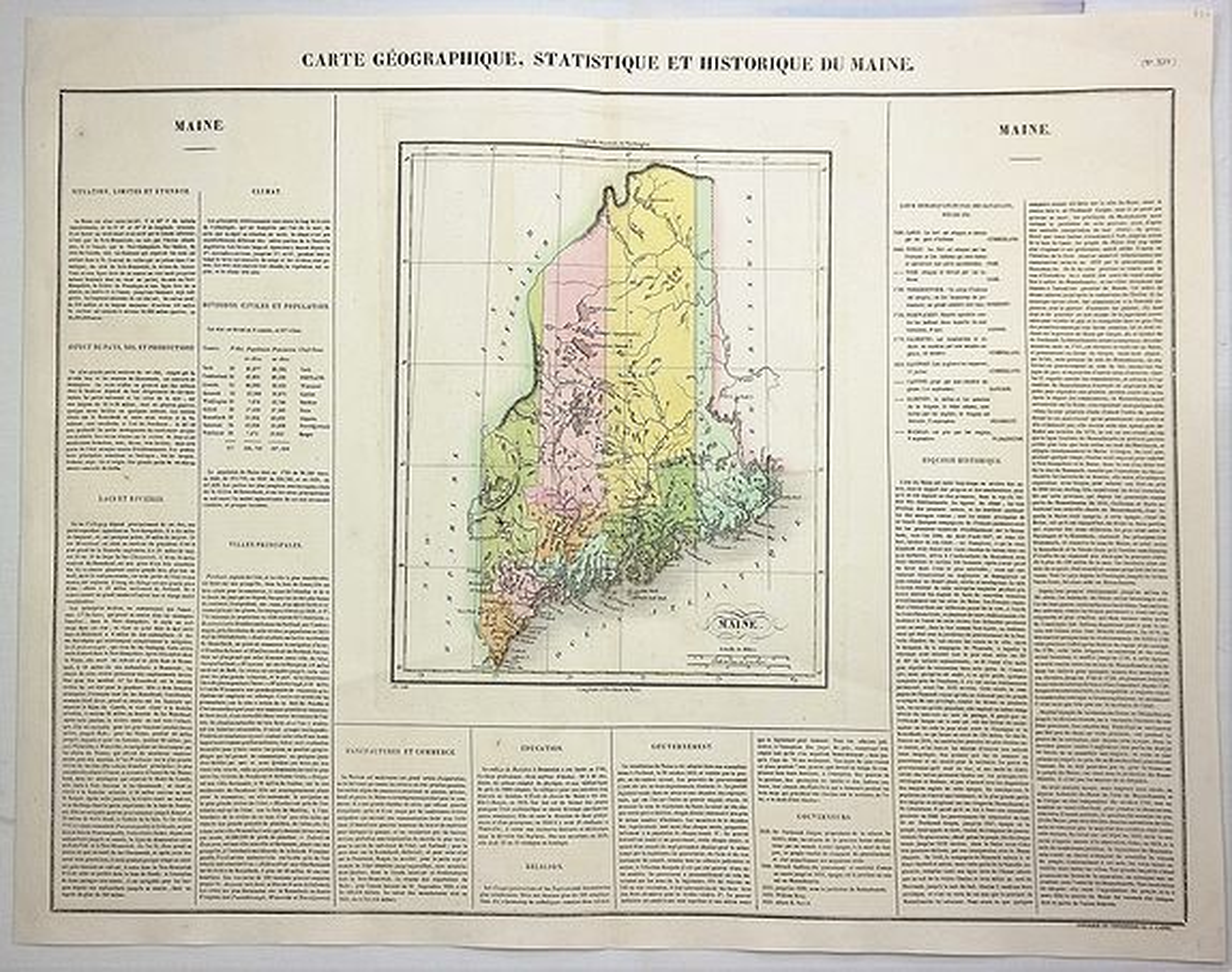 BUCHON, J. - Carte Geographique, Statistique et Historique du Maine.