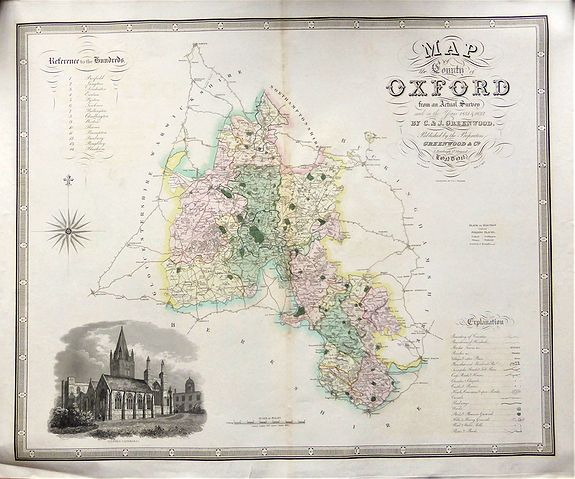 GREENWOOD, Christopher and John. , Map of the County of OXFORD from an Actual Survey' by C. & J. Greenwood. , antique map, old maps