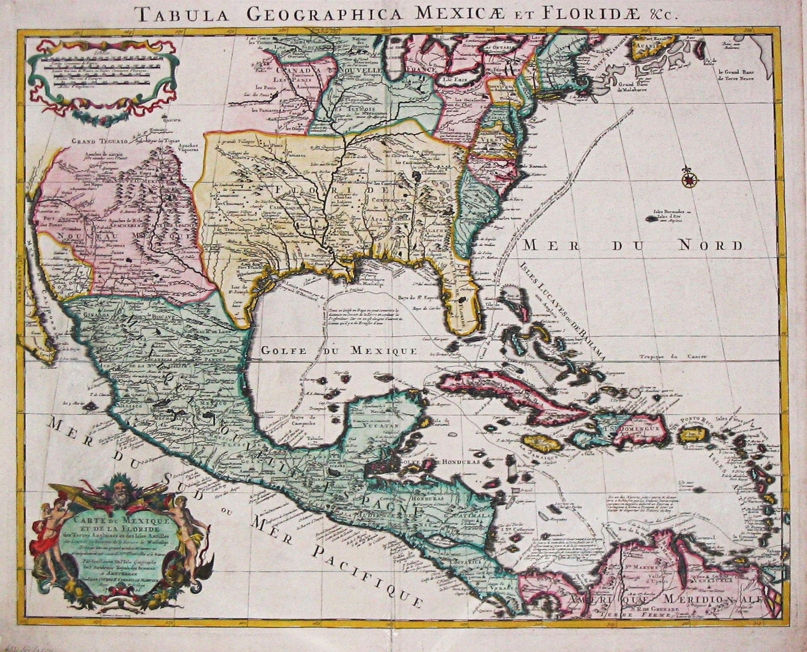 Covens, J. & C. Mortier. / G. de l' Isle. - Tabula Geographica Mexicae et Floride des Terres Angloises et des Isles Antilles, du Cours et des Environs de la Riviere de Mississipi.