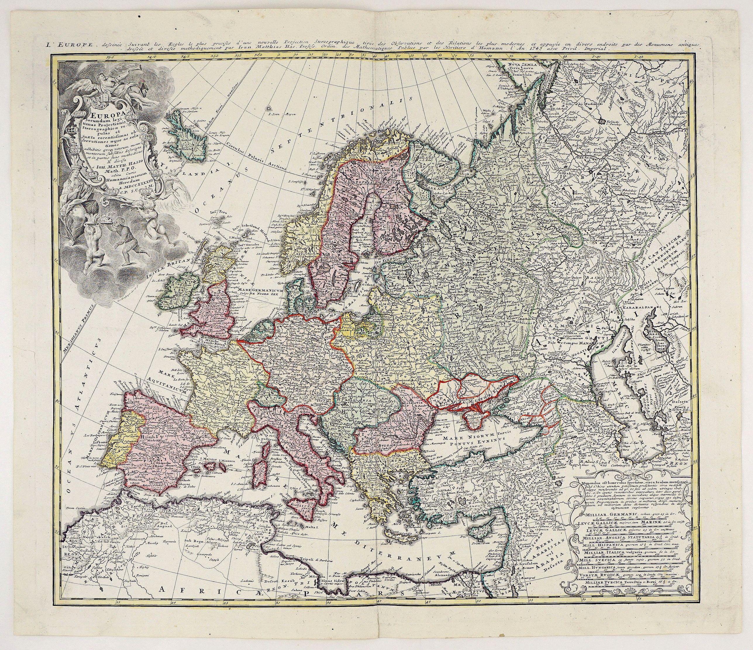HOMANN HEIRS  / HAAS, J.M. - Europa Secundum Legitimas Projectionis Stereographicae Regulas et Juxta Recentissimas Observationes Aeque ac Relationes. . .