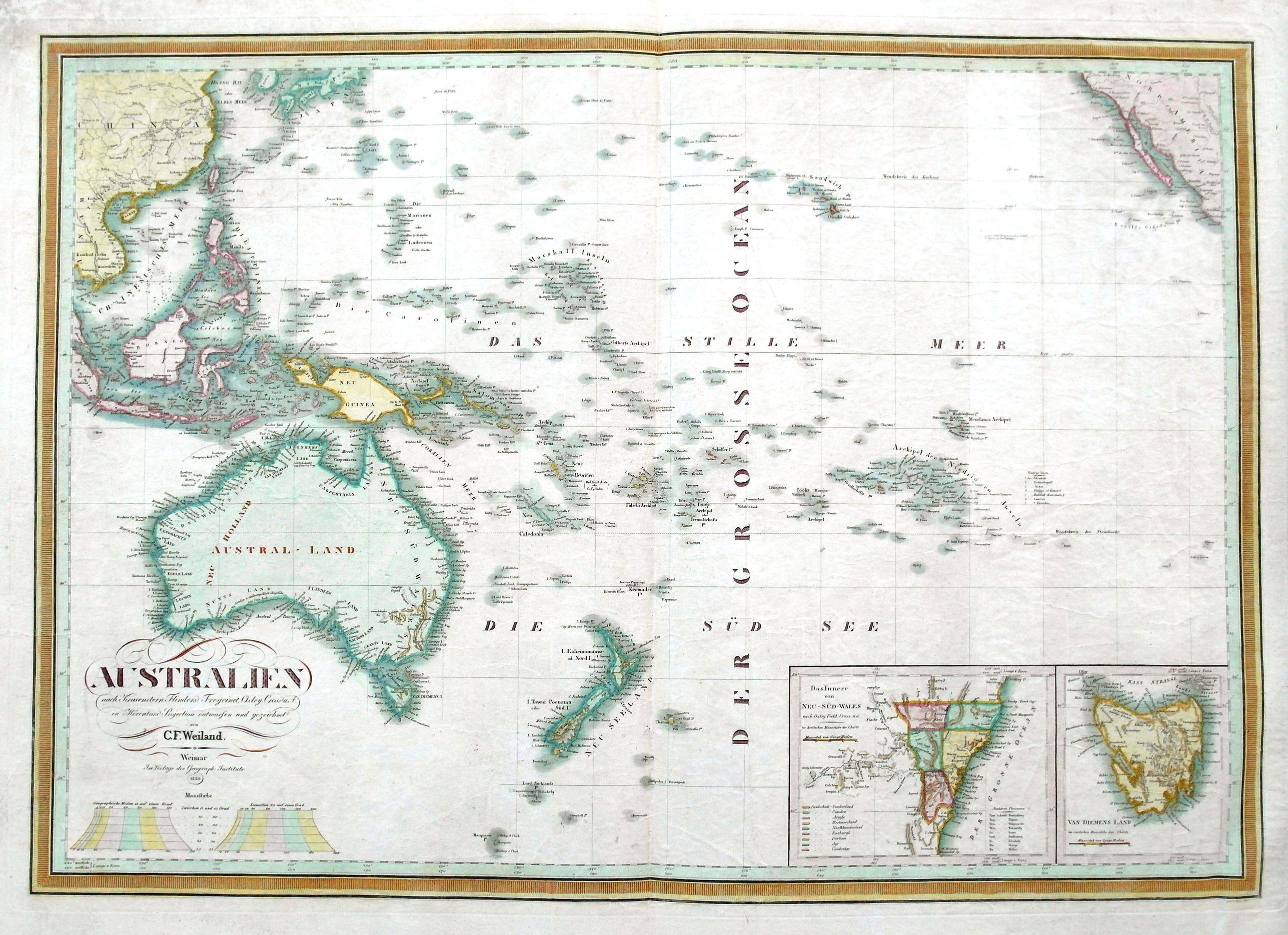 WEILAND, C. F. - Australien nach Krusenstern, Flinders, Freycinet, Oxley. . .
