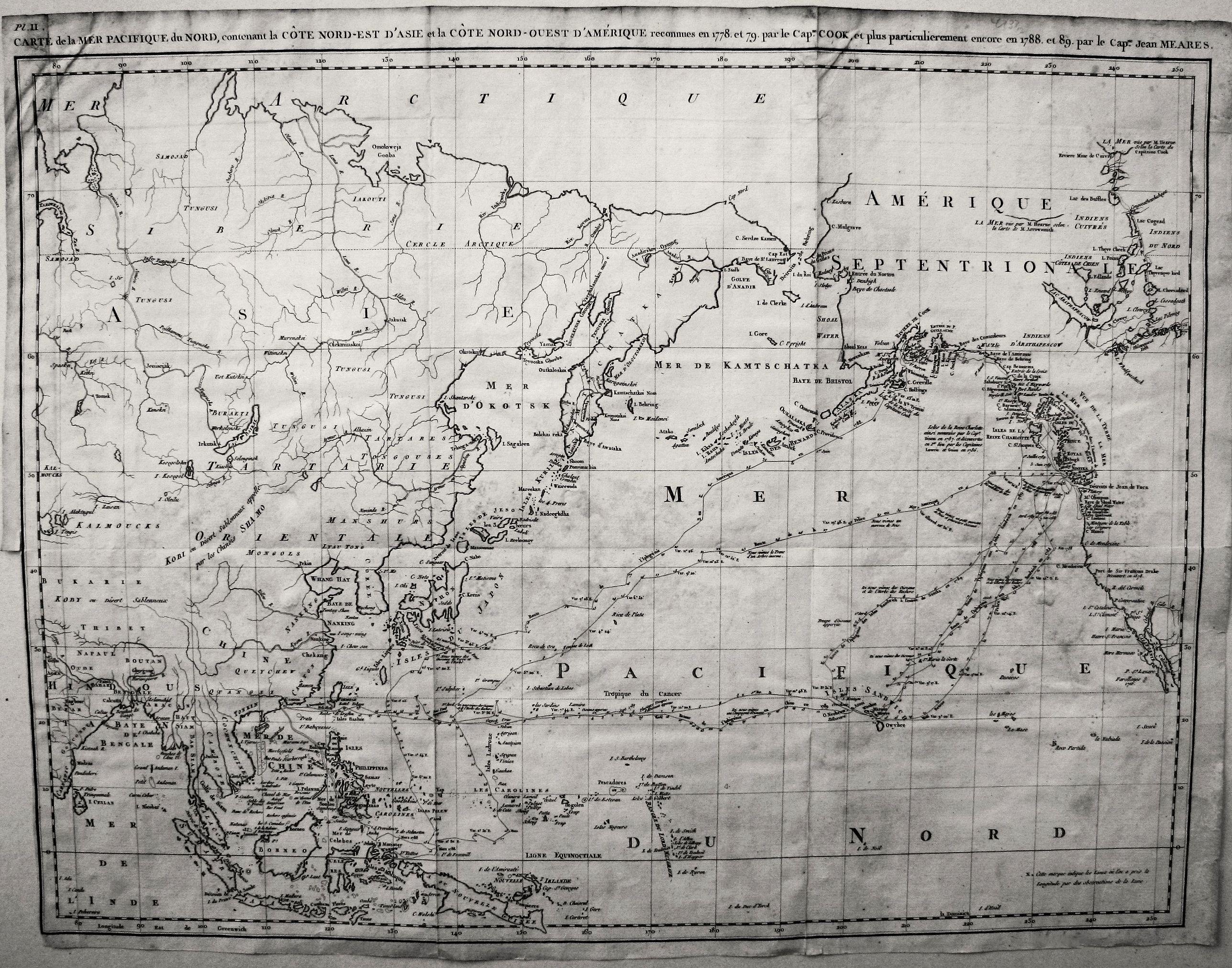 MEARES, J. - Carte de la Mer Pacifique du Nord, contenant la Cote Nord-Est D'Asie et la Cote Nord-Ouest D'Amerique …1778 et 79 par le Capn Cook, et…1788-89 par le Capne Jean Meares