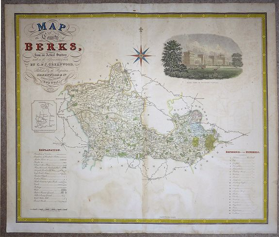 C. & J. Greenwood. , 'MAP of the County of BERKS, from an Actual Survey' , antique map, old maps