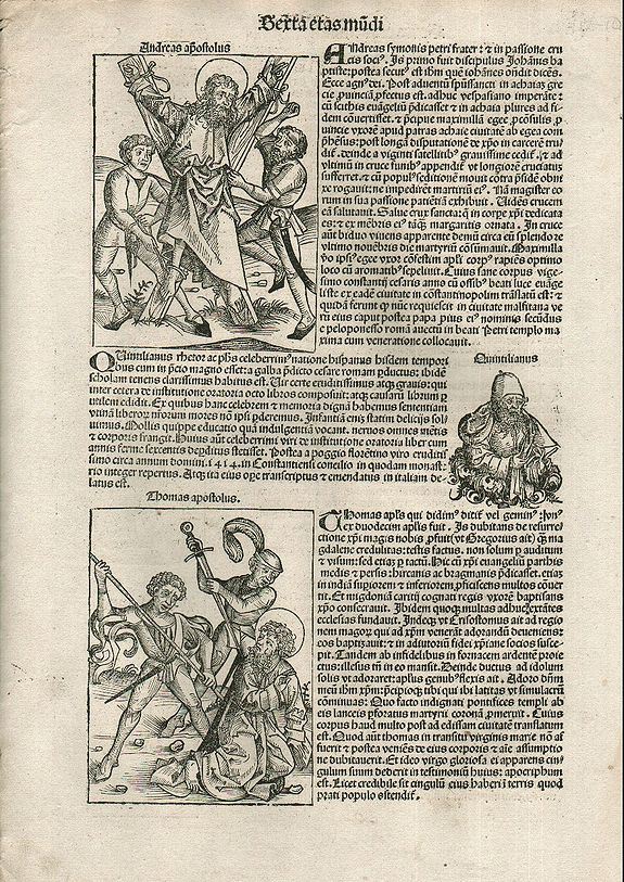 SCHEDEL, Hartmann., Apostles Andrews and Thomas. Folio CVI - Nuremberg Chronicle. , antique map, old maps