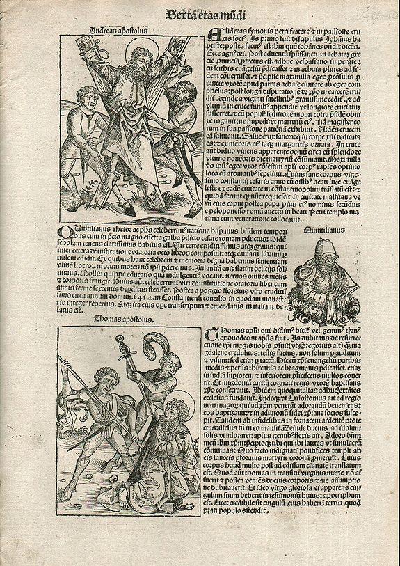 SCHEDEL, Hartmann. - Apostles Andrews and Thomas. Folio CVI - Nuremberg Chronicle.