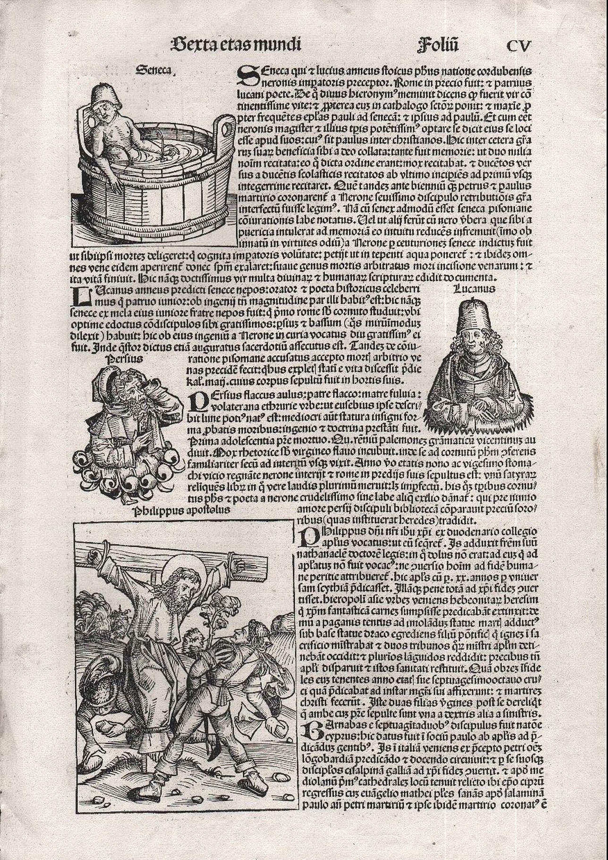 SCHEDEL, Hartmann. - Sexta Etas Mundi. Folio CV - Nuremberg Chronicle.
