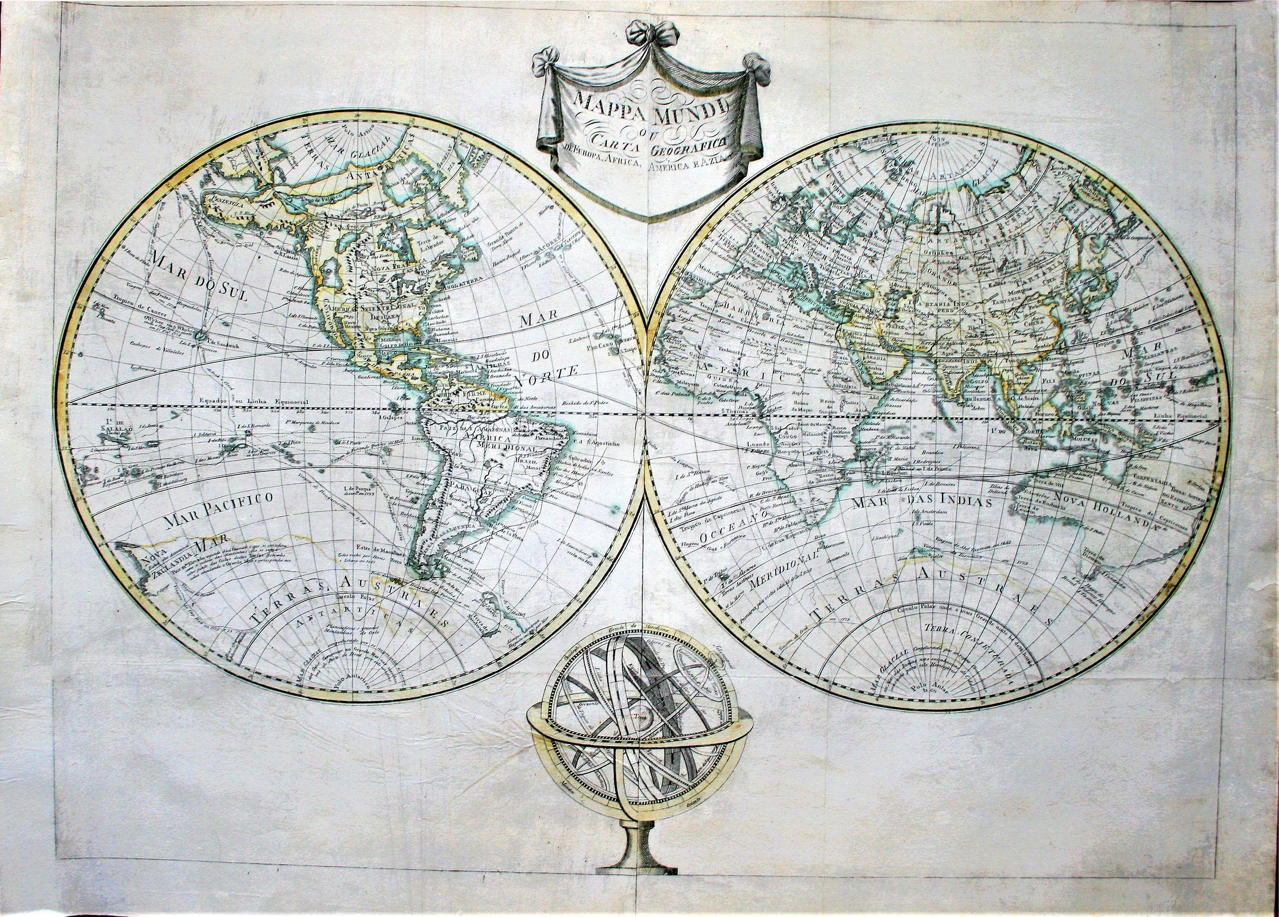 ANONYMOUS - Mappa Mundi ou carta geografica de Europa, Africa, America e Azia.
