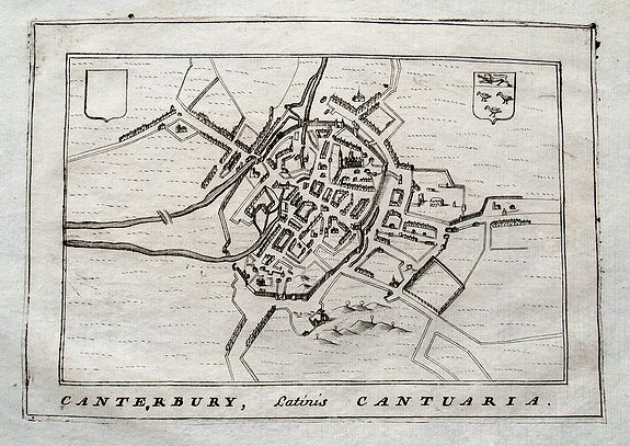 CORONELLI, V. M., Canterbury, Latinis Cantuaria., antique map, old maps
