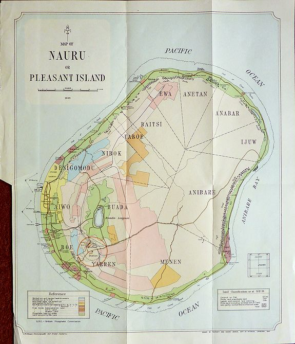 Hutchison, J.D. - Map of Nauru or Pleasant Island 1939.