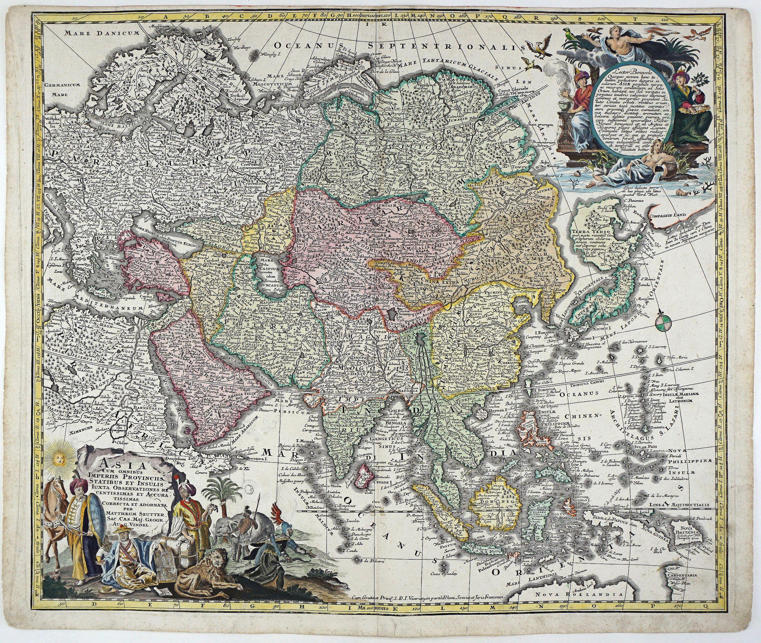 SEUTTER, M. - Asia Cum Omnibus Imperiis Provinciis Statibus et Insulis Iuxta Observationes Recentissimas et Accuratissimas Correcte et Adornata. . .