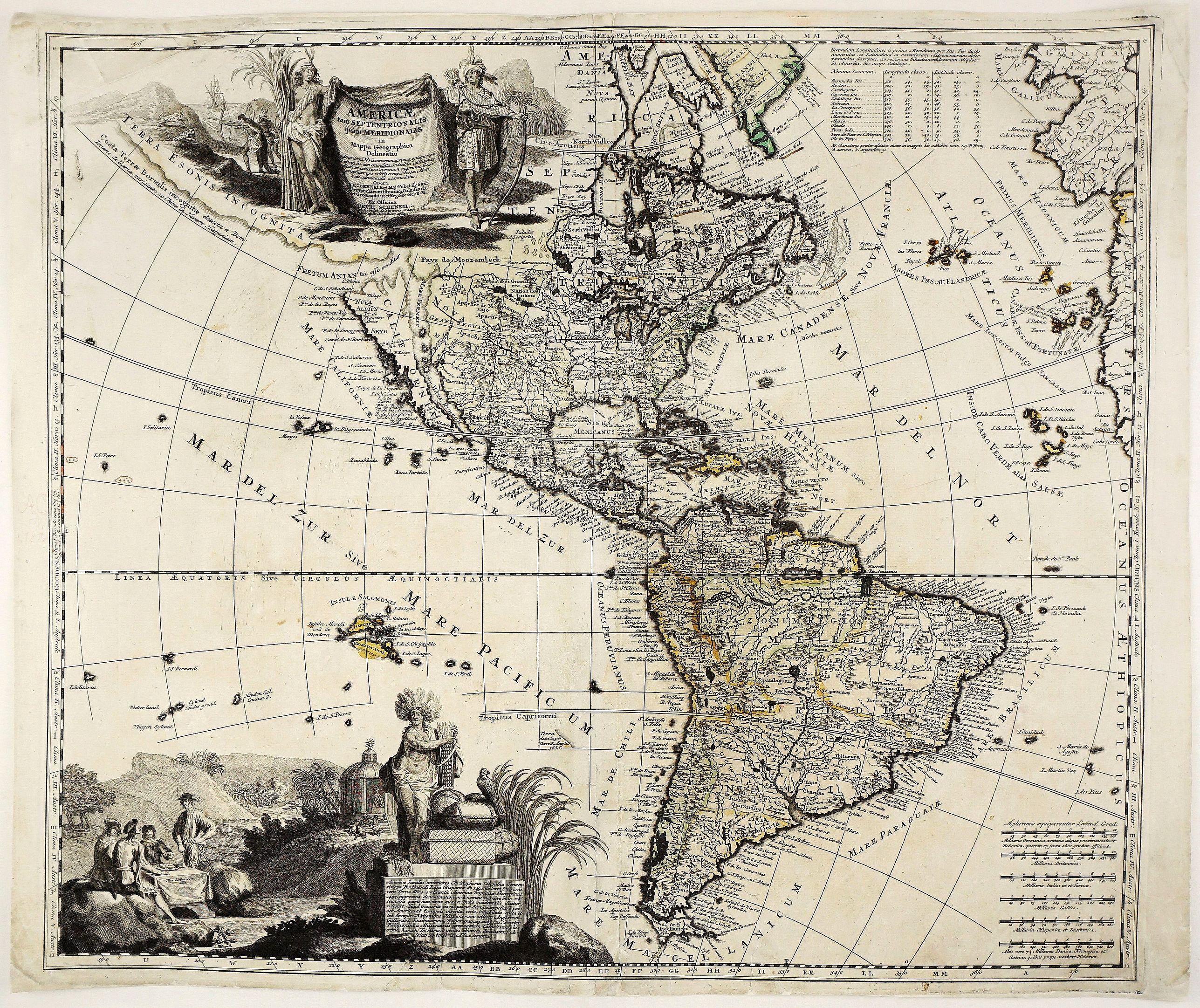 SCHENK, P. - Americae tam Septentrionalis quam Meridionalis in Mappa Geographica Delineatio. . .