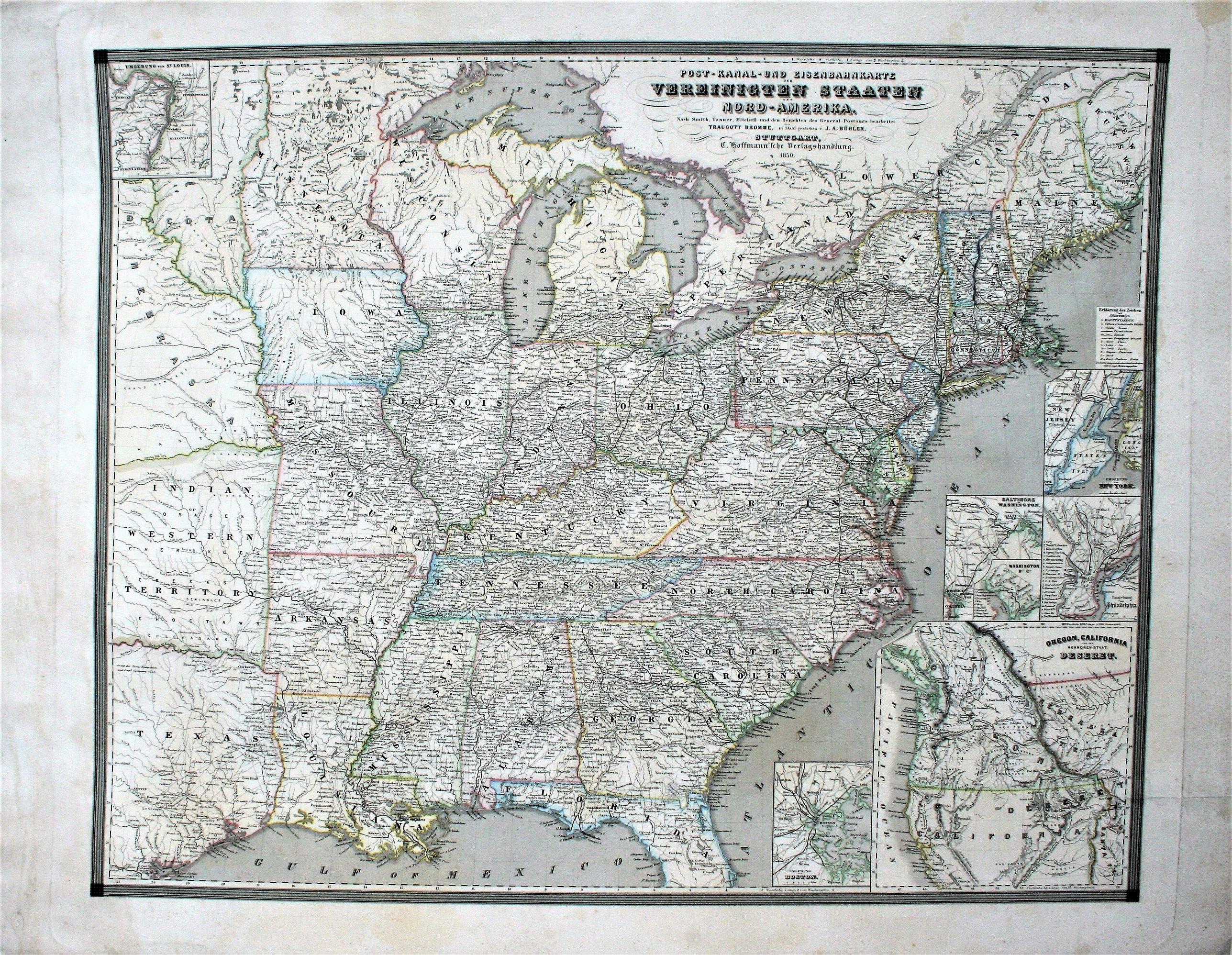 BUEHLER, J. A.  - Post-Kanal-und Eisenbahnkarte der Vereinigten Staaten von Nord-Amerika. Nach Smith, Tanner, Mitchell und der Berichten des General-Postamts. . .