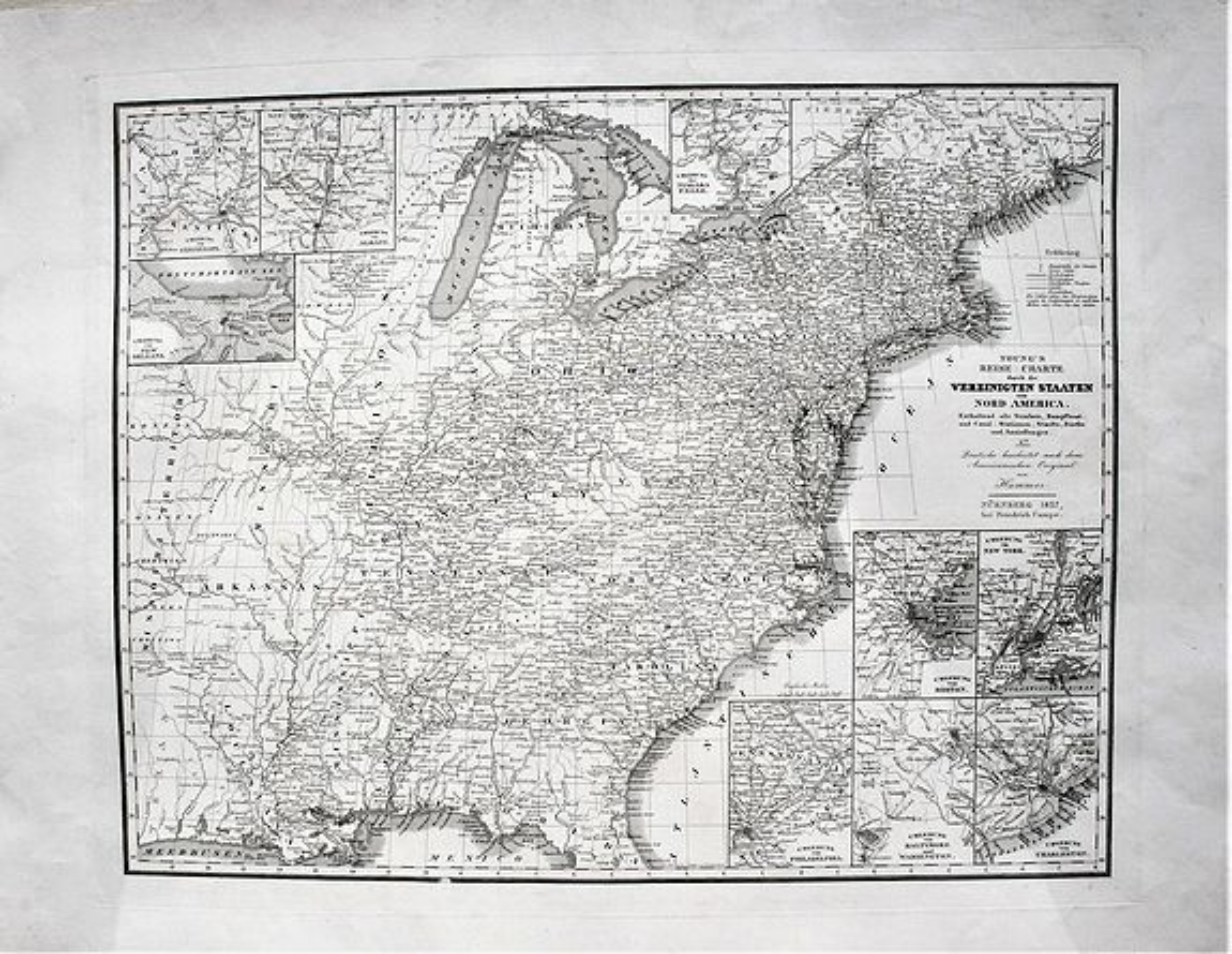 CAMPE. - Young's Reise=Charte durch die Vereinigten Staaten von Nord America. Enthaltend alle Strassen, Dampfboot und Canal = Stationen, Staedte, Dorfer und Ansiedlungen. . .