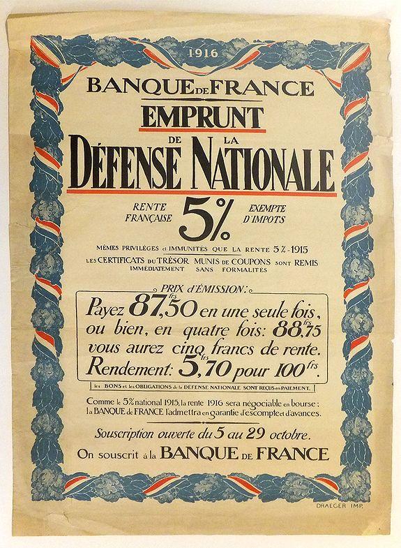DRAEGER. - BANQUE DE FRANCE - EMPRUNT DE LA DEFENSE NATIONALE - RENTE FRANCAISE. 5%