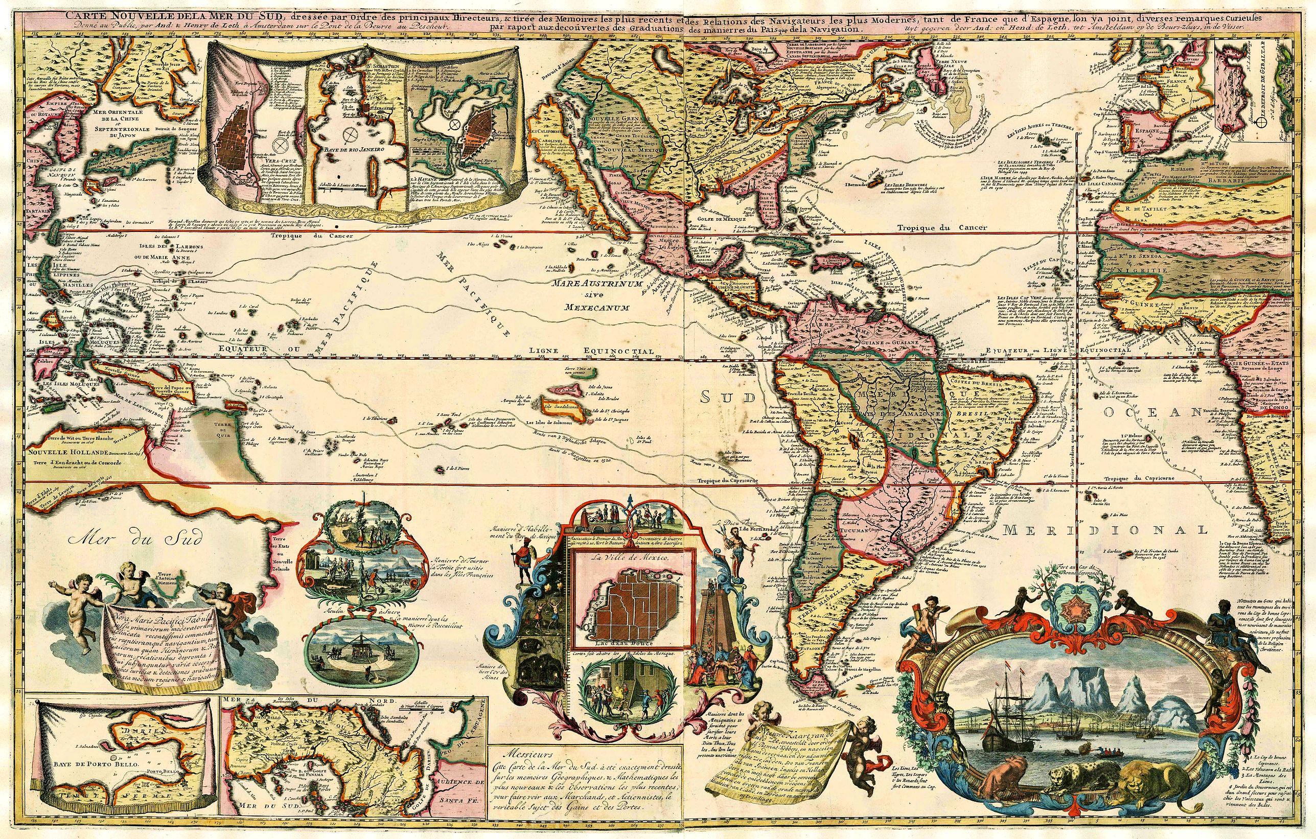 DE LETH, A. & H.  - Carte Nouvelle de la Mer du Sud.