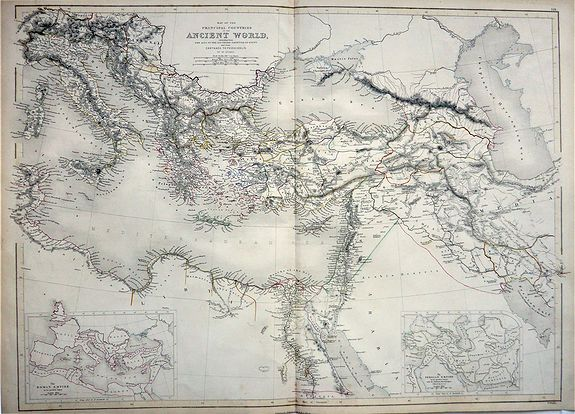 HUGHES, William. - Map of the Principal Countries of the Ancient World extending from the Alps to the Southern Frontier of Egypt and from Carthage to Persepolis.
