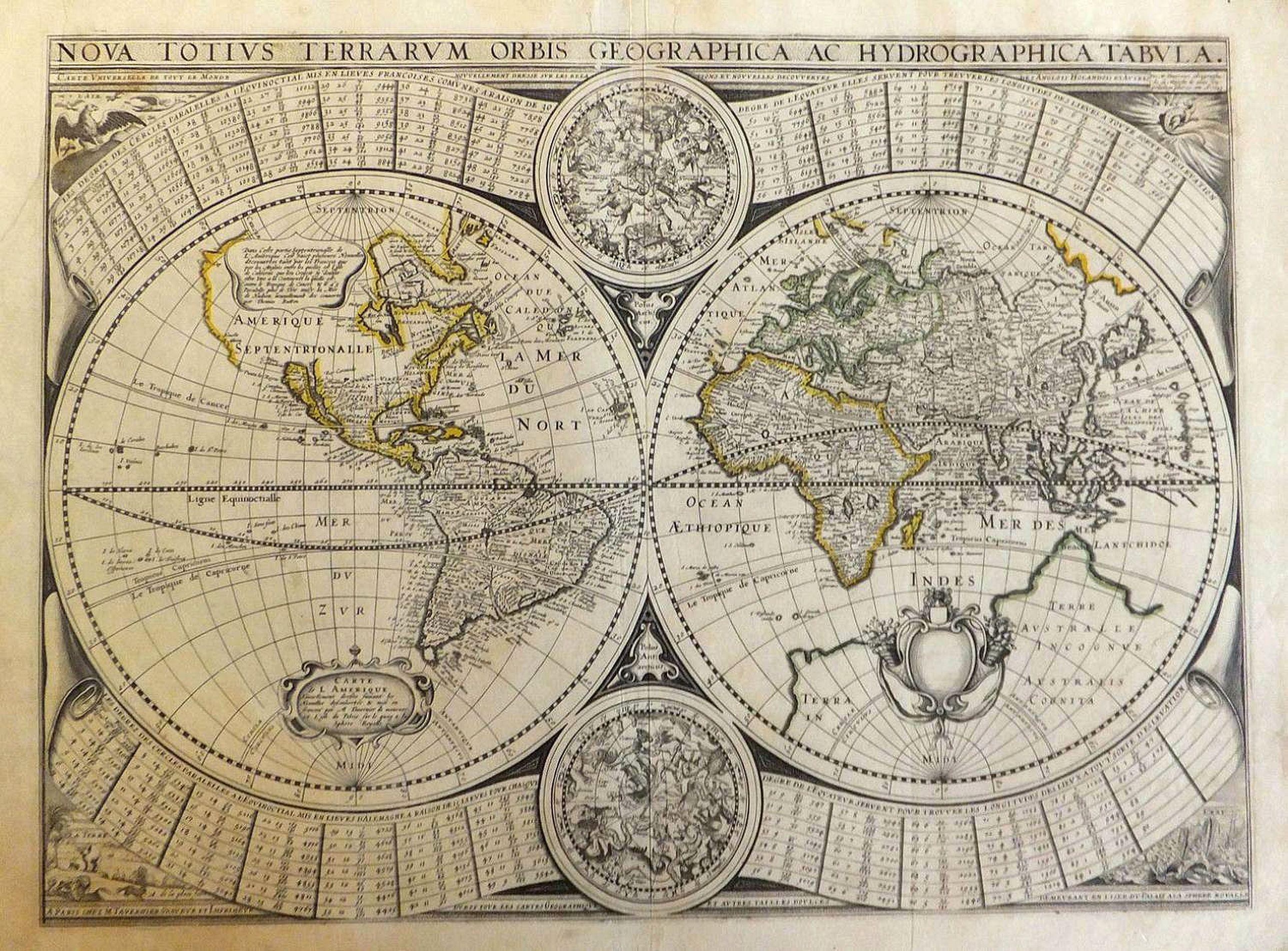 TAVERNIER, M. - Carte universelle de tout le monde nouvellement dressée sur les relations et nouvelles découvertes des anglais hollandais et autres
