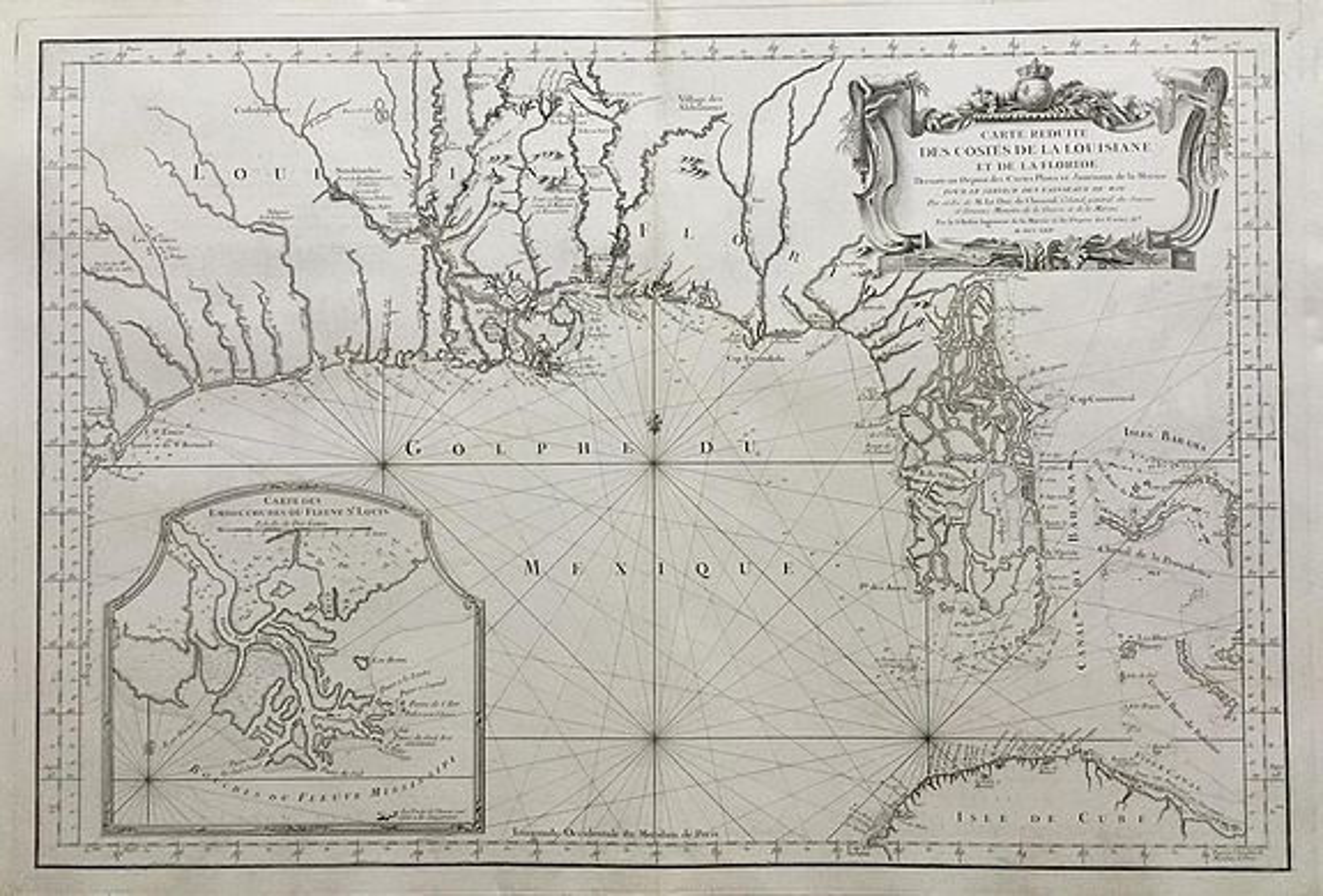 Bellin, - Carte Reduite des Costes de la Louisiane et de la Floride.