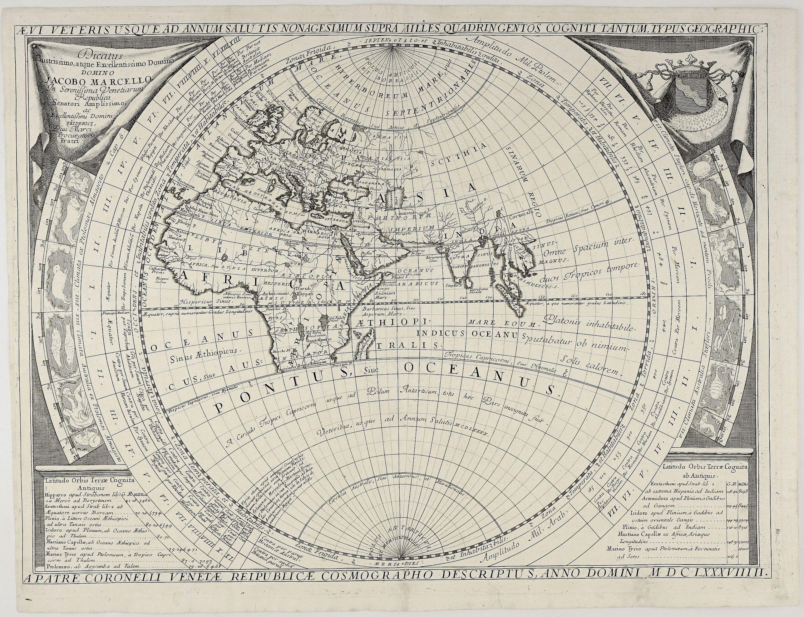 CORONELLI, V. M. - Aevi Veteris Usque Ad Annum Salutis Nonagesimum Supra Milles Quaringentos Cogniti Tantum Typus Geogrpahic:… MDCLXXXVIIIII.